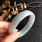 SOLD OUT: 52.5mm A-Grade Type A Natural Light Bluish Green Jadeite Jade Modern Round Bangle No.151374