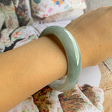 54.2mm A-Grade Type A Natural Bluish Green Jadeite Modern Round Bangle No.151549