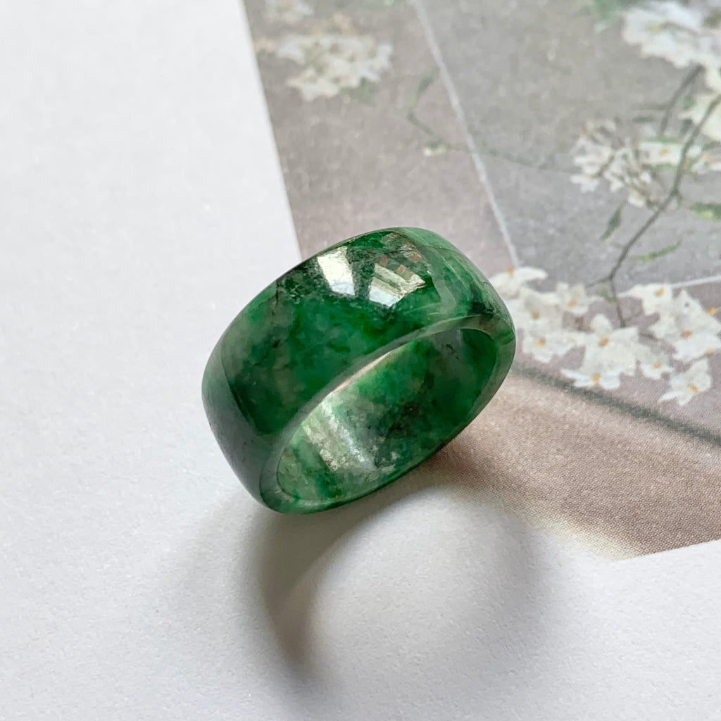 A-Grade Natural Floral Imperial Green Jadeite Ring Band No.220525