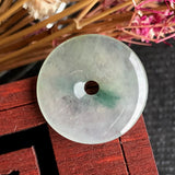 SOLD OUT: Icy A-Grade Type A Natural Floral Jadeite Jade Donut Pendant No.170426