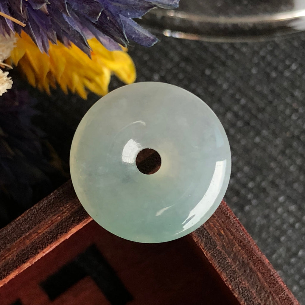 SOLD OUT: Icy A-Grade Type A Natural Light Green Jadeite Jade Donut Pendant No.170428