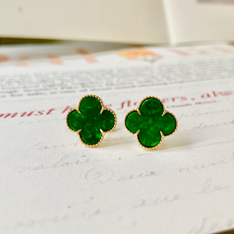 A-Grade Natural Green Jadeite Clover Earring Stud (18k Gold) No.180375