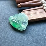Icy A-Grade Type A Natural Jadeite Jade Green Buddha Pendant No.170053