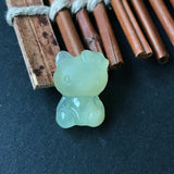SOLD OUT: Icy A-Grade Type A Natural Jadeite Jade Yellow Hello Kitty Pendant No.170125