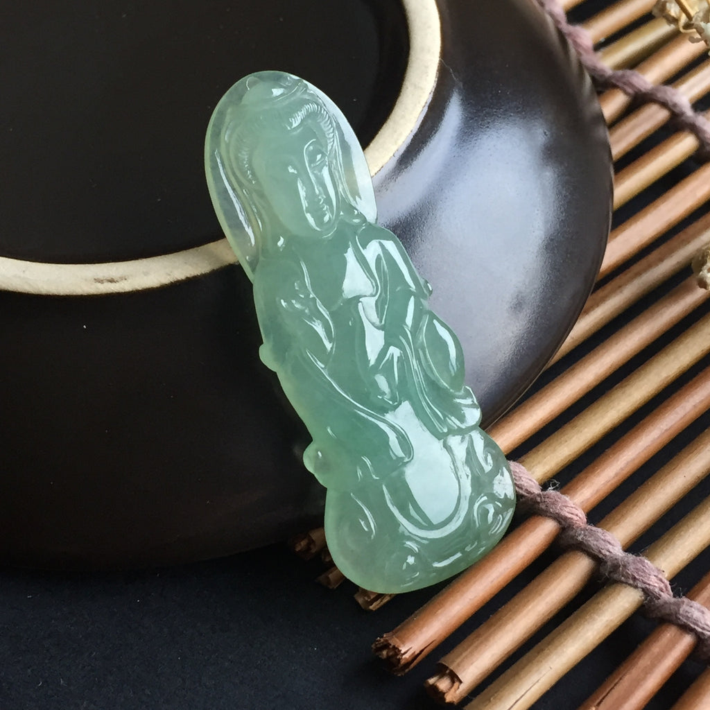 SOLD OUT: Icy A-Grade Type A Jadeite Jade Green Goddess of Mercy Pendant No.17044