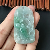Icy A-Grade Type A Natural Jadeite Jade Koi Fish Pendant No.170121