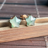 SOLD OUT: Icy A-Grade Type A Natural Floral Jadeite Jade Star Earrings No.180063