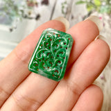 SOLD OUT: A-Grade Natural Imperial Green Jadeite Pendant with Carvings (Vines) No.171334