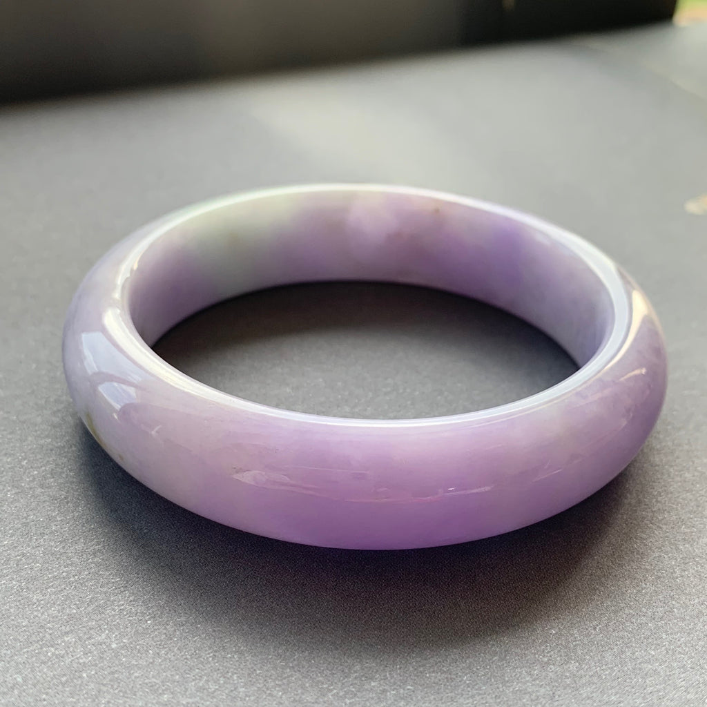 SOLD OUT: 57.8mm A-Grade Type A Natural Lavender Jadeite Jade Modern Round Bangle No.151546