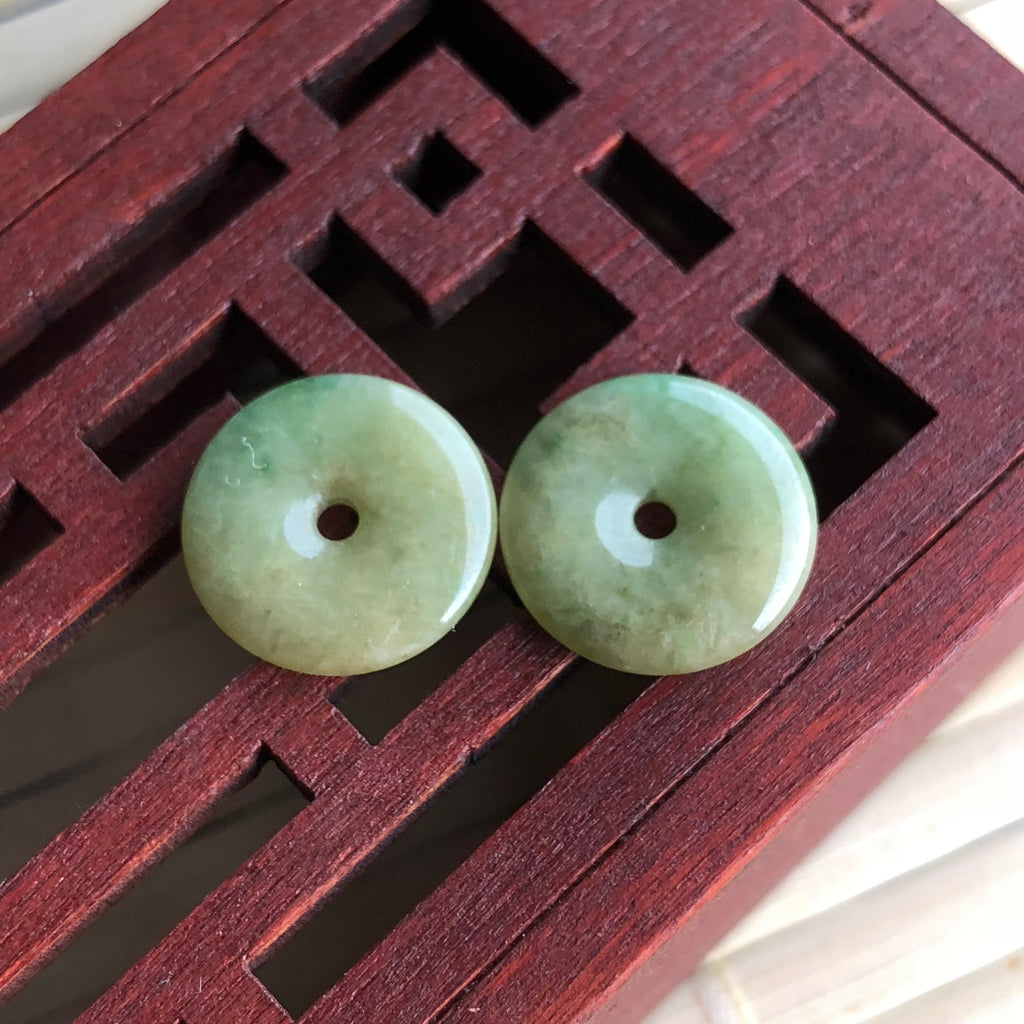 A-Grade Type A Natural Yellow Green Jadeite Jade Donut Earrings No.180003