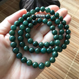 SOLD OUT: A-Grade Type A Natural Dark Green Jadeite Jade Beaded Bracelet/ Necklace No.190054