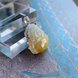 SOLD OUT: A-Grade Type A Natural Yellow Jadeite Jade Buddha Pendant (18k white gold and diamonds) No.170610
