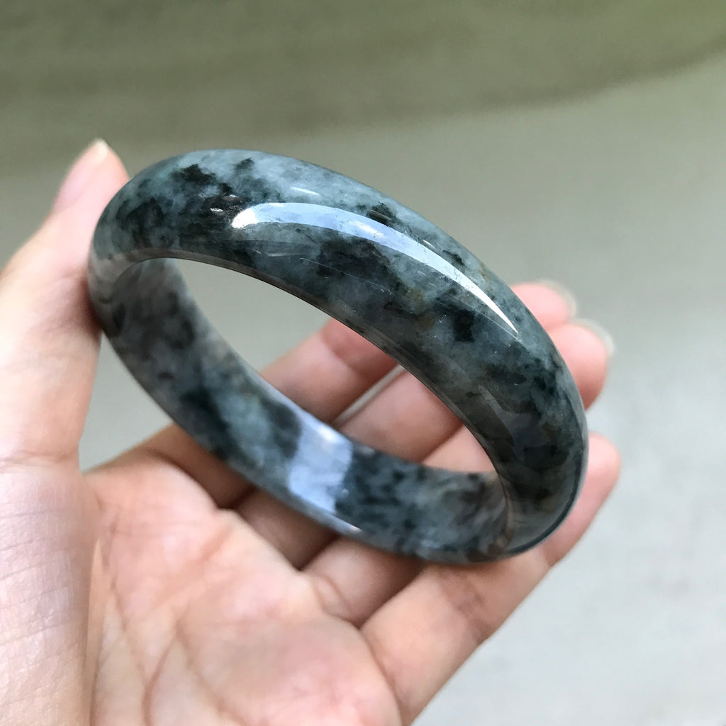 SOLD OUT: 58.8mm A-Grade Type A Natural Jadeite Jade Modern Round Bangle No.151107