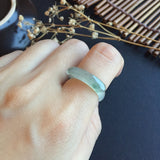 Icy Floral A-Grade Type A Jadeite Jade Dainty Saddle Ring No.161214