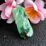 SOLD OUT: A-Grade Type A Natural Green Jadeite Jade Peach and Sparrow Pendant No.170434
