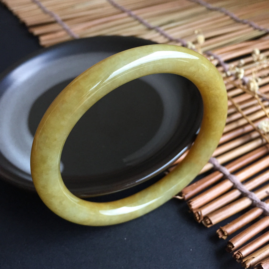 50mm A-Grade Type A Jadeite Jade Traditional Oval Bangle No.151296