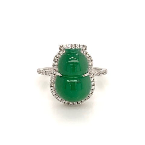 A-Grade Natural Jadeite Imperial Green Calabash Ring (18k White Gold with Diamonds) No.161416