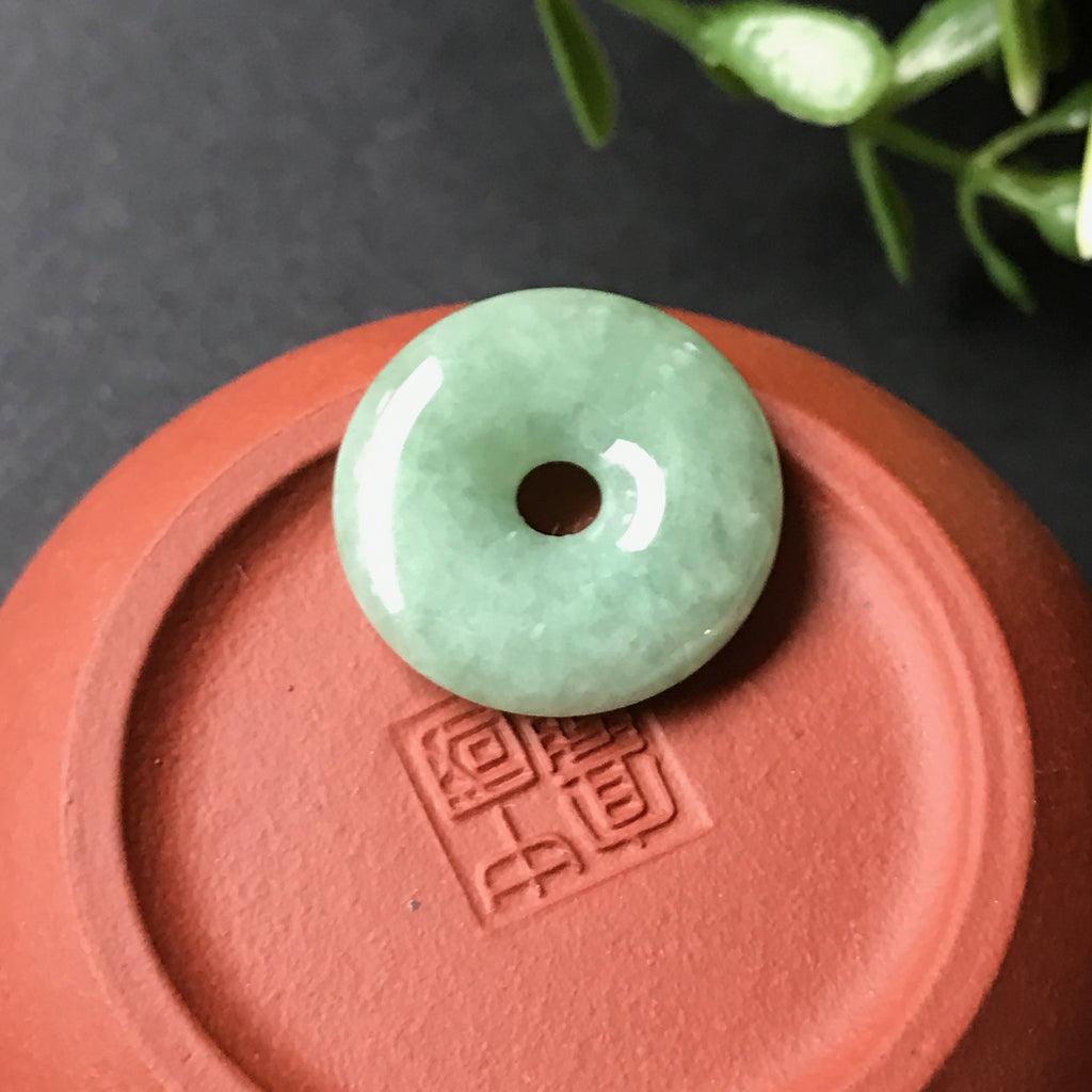 SOLD OUT: A-Grade Type A Natural Jadeite Jade Green Donut Pendant No.170127