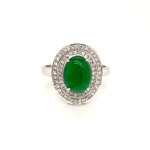 Imperial Green A-Grade Natural Jadeite Oval Cabochon Ring (18k White Gold with Diamonds) No.161289