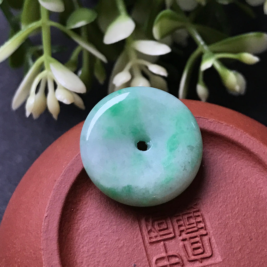 SOLD OUT: A-Grade Type A Natural Jadeite Jade Donut Pendant No.170128