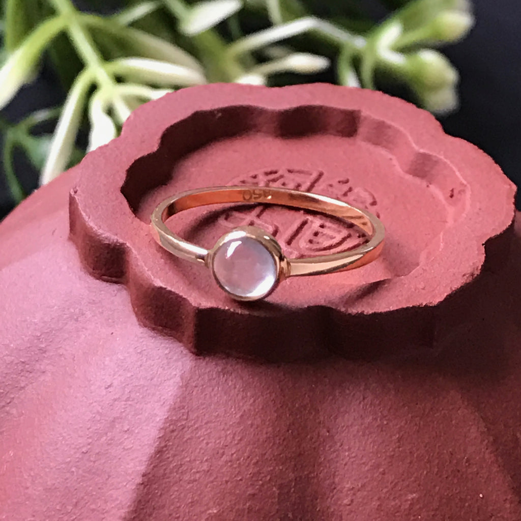 Icy Cabochon A-Grade Type A Natural Jadeite Jade Pinky Ring (20k Champagne Gold) No.161236