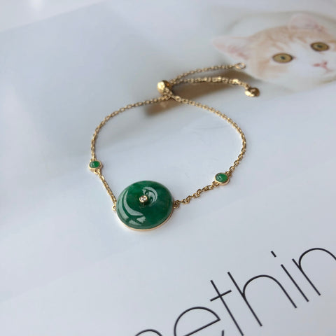A-Grade Natural Imperial Green Jadeite Bespoke Donut Bracelet (18K Gold With Diamond) No.190191