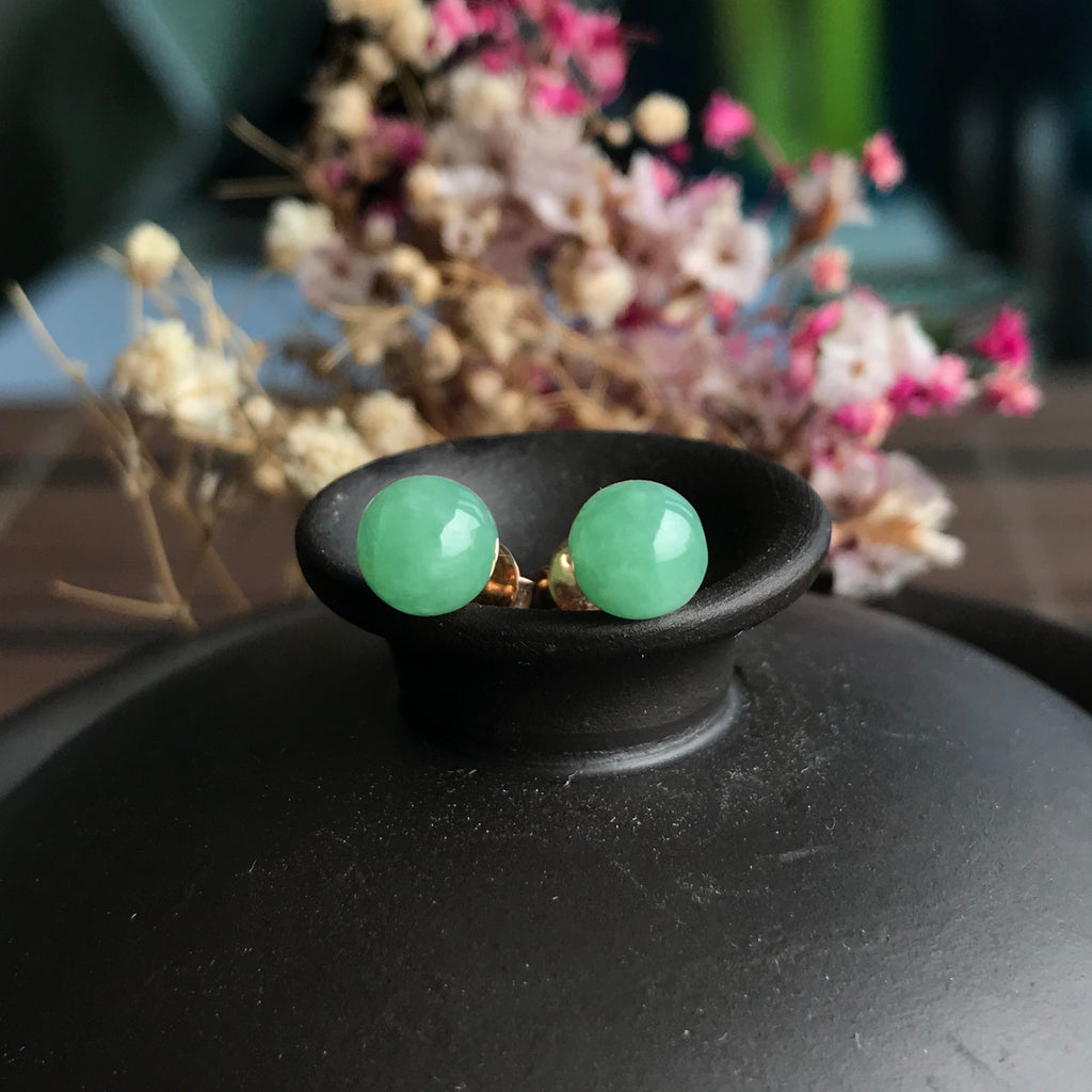 SOLD OUT: A-Grade Type A Natural Green Jadeite Jade Sphere/ Ball Stud Earrings No.180068