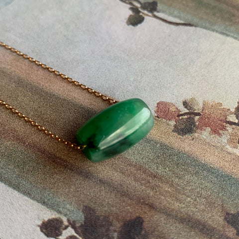 A-Grade Type A Natural Green Jadeite Barrel Pendant No.170625