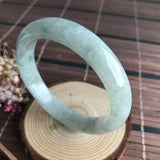 SOLD OUT: A-Grade Type A Natural Floral Jadeite Jade Modern Round Bangle No.151439