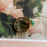 Imperial Green  A-Grade Natural Jadeite Bespoke Ring (18k Champagne Gold) No.161336