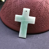 SOLD OUT: A-Grade Type A Natural Jadeite Jade Green Cross Pendant No.170133