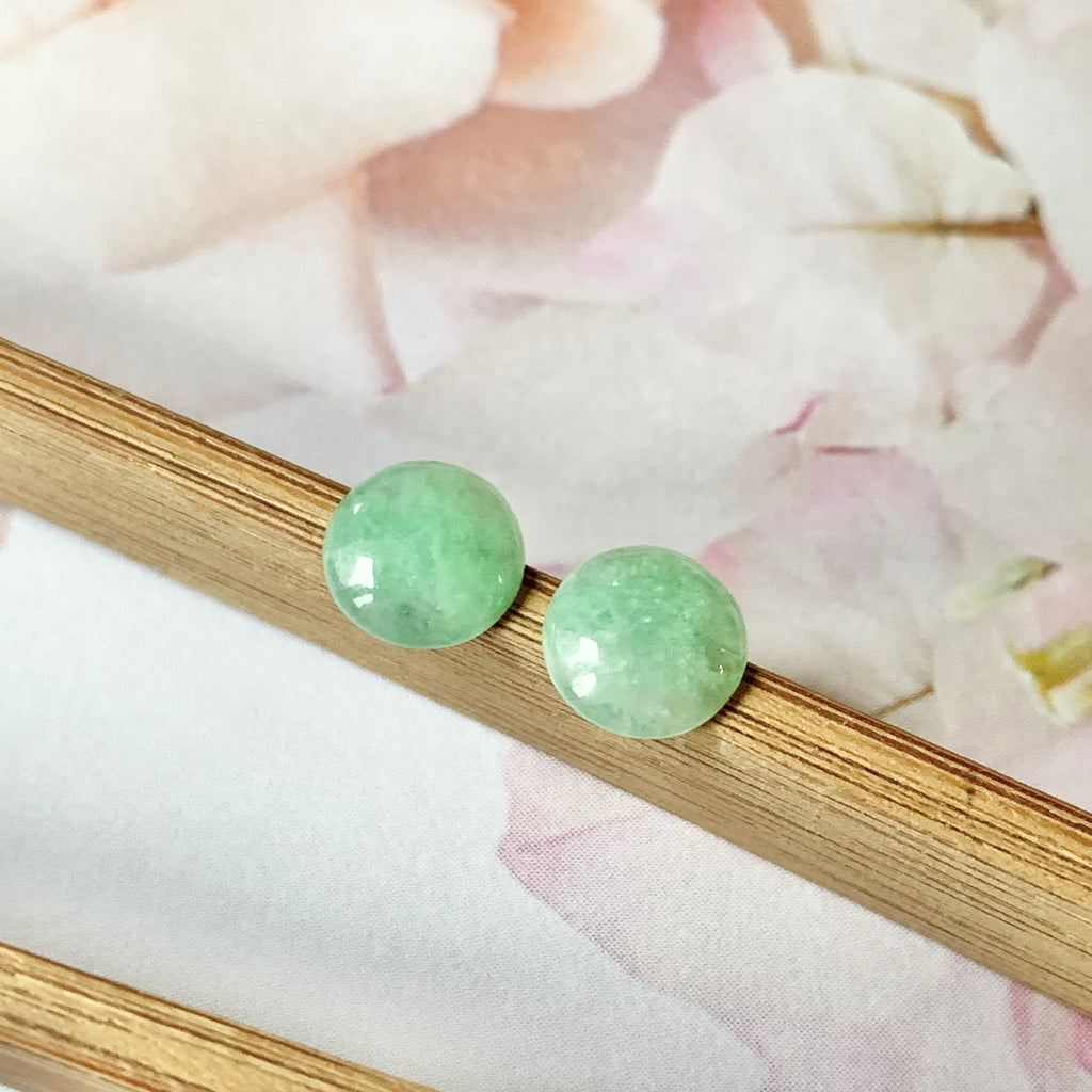 2ct A-Grade Natural Green Jadeite Cabochon Earring Pair No.180282