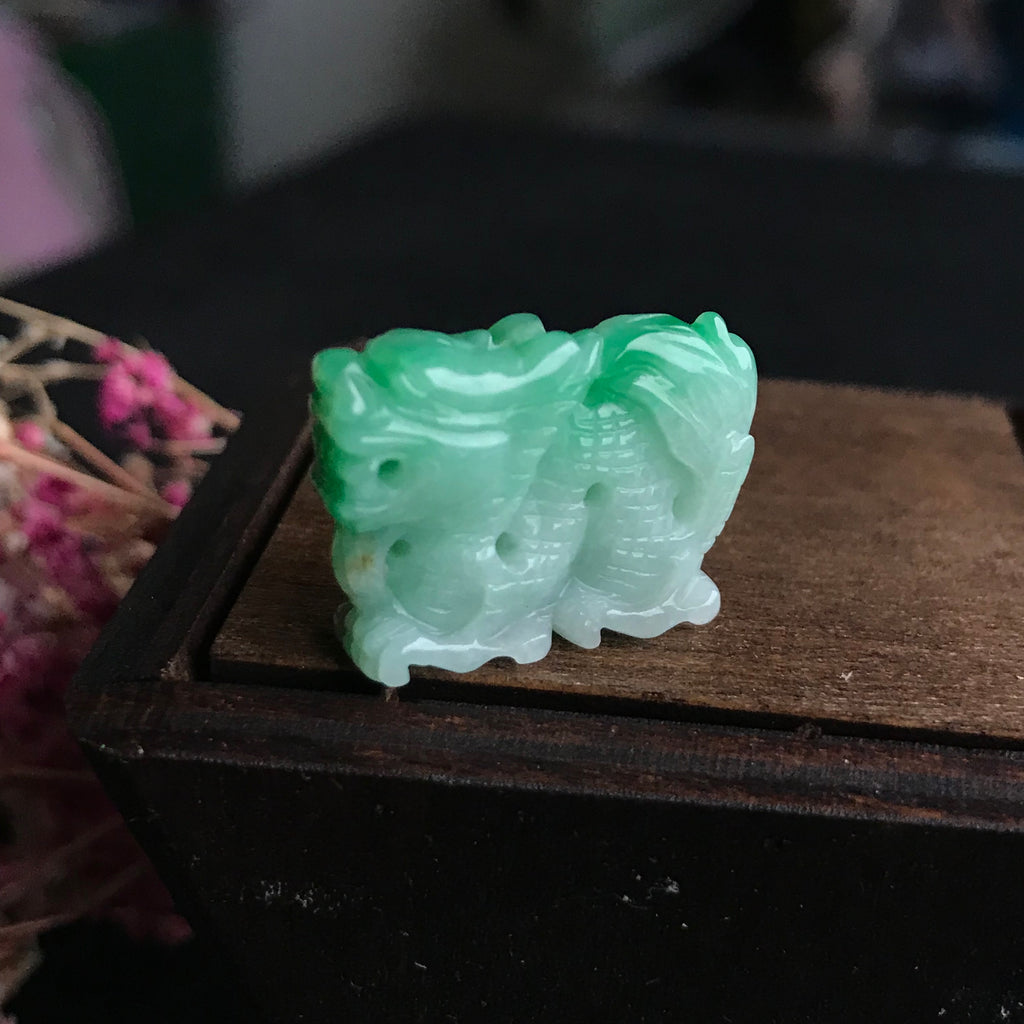 SOLD OUT: A-Grade Type A Natural Green Jadeite Jade Dragon Pendant No.170367