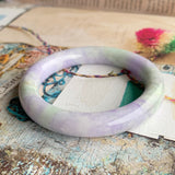 SOLD OUT: 58mm A-Grade Type A Lavender Green Jadeite Traditional Round Bangle No.151552