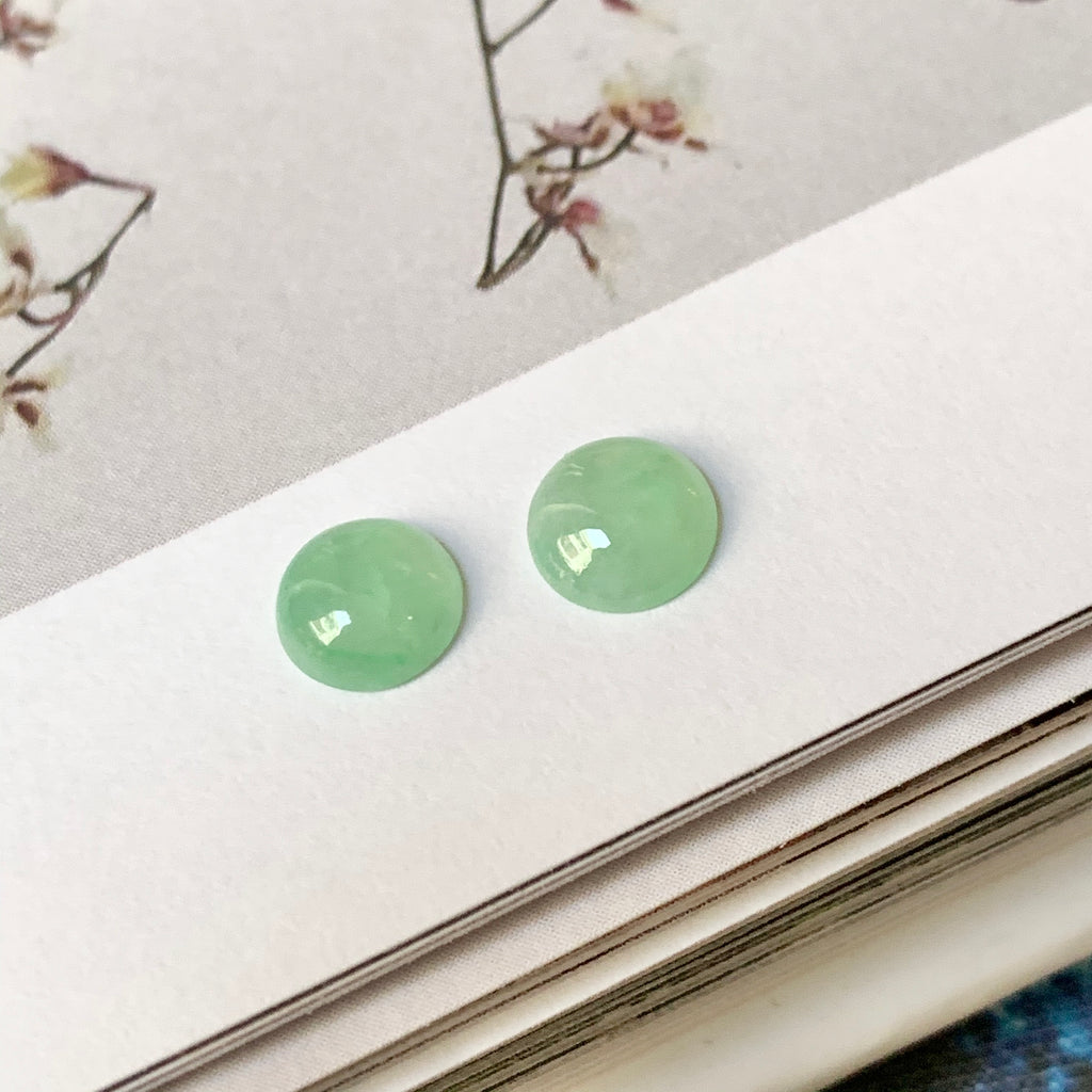 SOLD OUT: A-Grade Natural Green Jadeite Cabochon Earring Pair No.180283