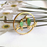 Icy A-Grade Natural Green Jadeite Parrot Pendant (18k Champagne Gold) No.170626