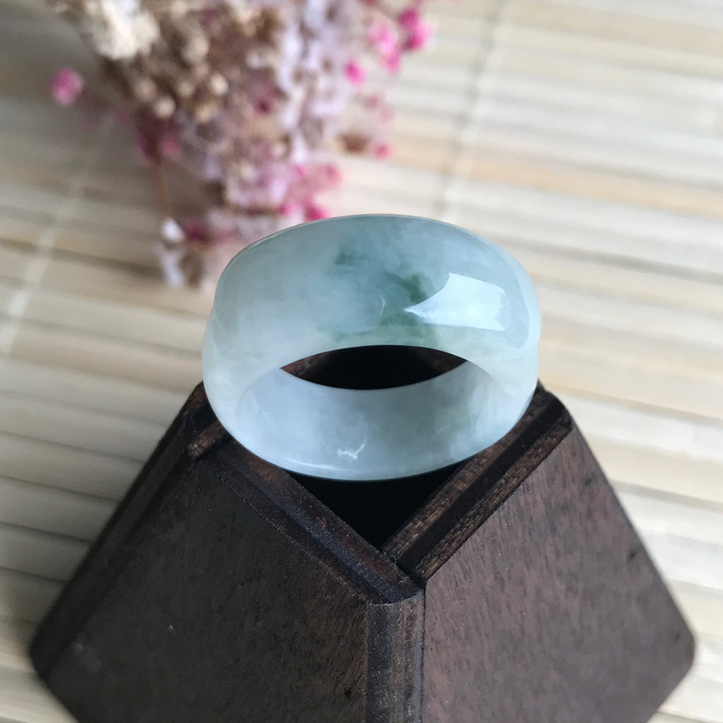 SOLD OUT: A-Grade Type A Natural Floral Jadeite Jade Saddle Ring Band No.161262