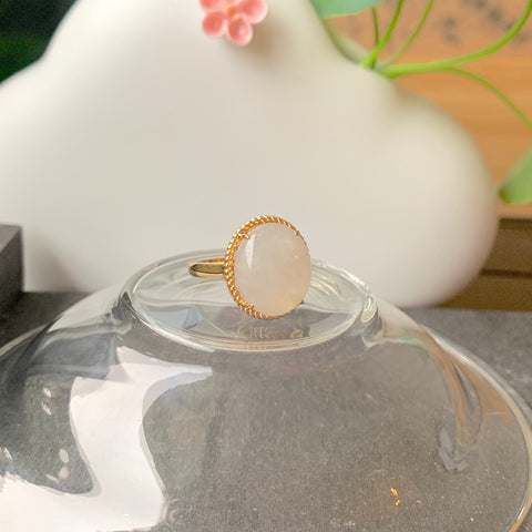 A-Grade Natural Jadeite Near White Cabochon Bespoke Ring (18k Champagne Gold)No.161424