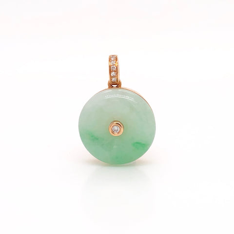 A-Grade Natural Green Jadeite Donut Bespoke Pendant (18k rose gold with diamonds) No.171113
