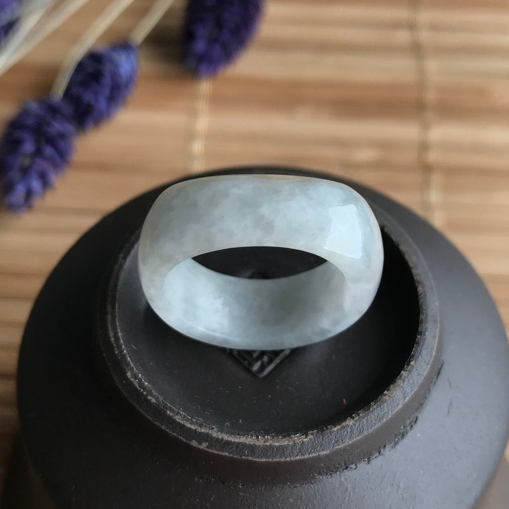 SOLD OUT: A-Grade Type A Natural Bluish Lavender Jadeite Jade Flat Top Ring Band No.161264