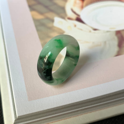 A-Grade Natural Floral Imperial Green Jadeite Ring Band No.220526