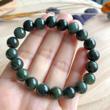 SOLD OUT: 9mm A-Grade Type A Natural Dark Olive Green Jadeite Jade Beaded Bracelet No.190080