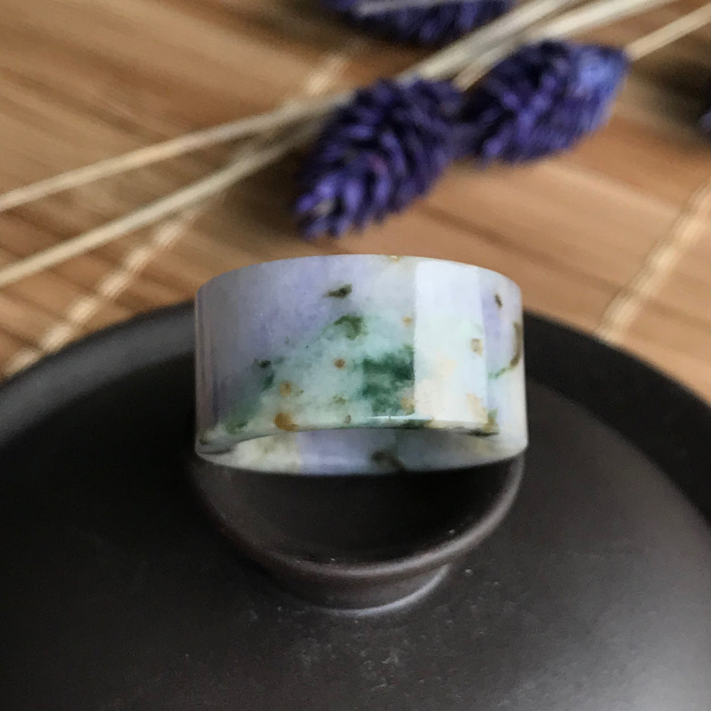 SOLD OUT: A-Grade Type A Natural Scenic Jadeite Jade Statement Ring Band No.161263