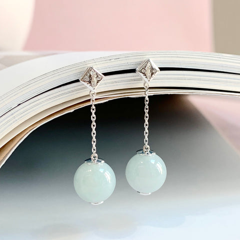 A-Grade Natural Jadeite Bespoke Dangling Earrings (18k White Gold) No.180141