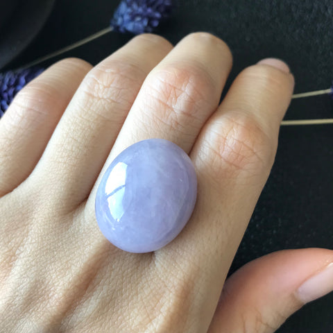 A-Grade Type A Natural Lavender Jadeite Jade Large Oval Cabochon Piece No.130020