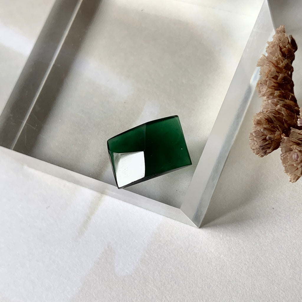 SOLD OUT: 1.85ct Icy A-Grade Natural Omphacite Jadeite Rectangle Piece No.130124