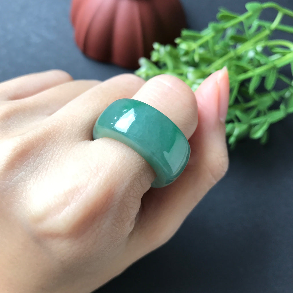 SOLD OUT: Green A-Grade Type A Natural Jadeite Jade Saddle Ring No.161226