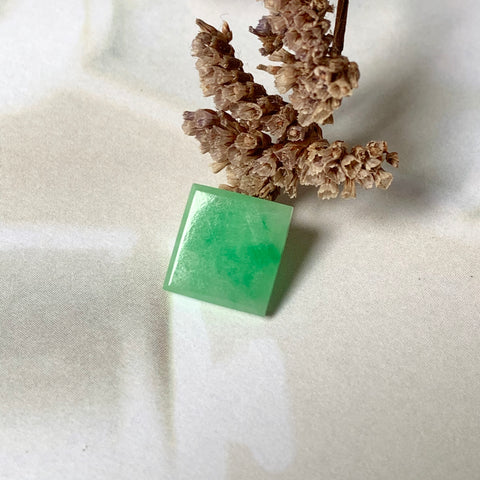 3.40ct A-Grade Natural Moss on Snow Jadeite Square (Step-Cut) Piece No.220479