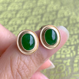 Imperial Green A-Grade Natural Jadeite Oval Cabochon Stud Earring No.180109