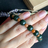 SOLD OUT: 9.5mm and 5mm A-Grade Type A Natural Jadeite Green and Red Jade Beaded Bracelet No.190084